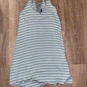 Green and white striped dress with cute back!